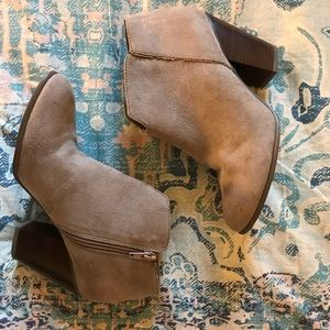 Tan high heel booties